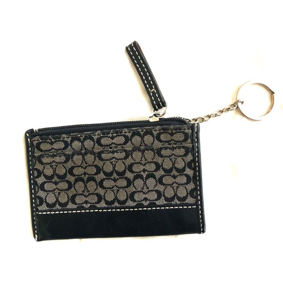 Authentic grey Coach coin purse with keychain